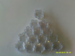 10 - 200  x  2 gram clear flower shaped plastic jars with screw top lids   Ideal for hobby / craft